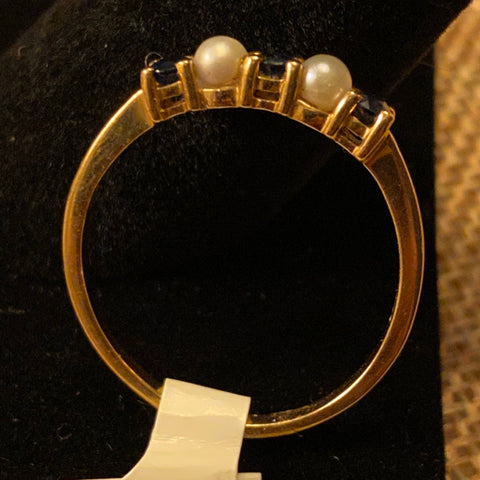 Tiffany Sapphire and Pearl 14k Ring
