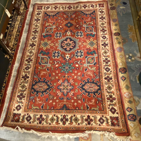 Red and Blue Hand Knotted Rug 3' x 5'