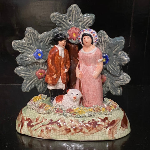 Staffordshire Figurine Man and Woman with Dog