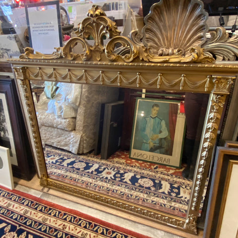 Large Antique Carved Gold Mirror with Swag Details