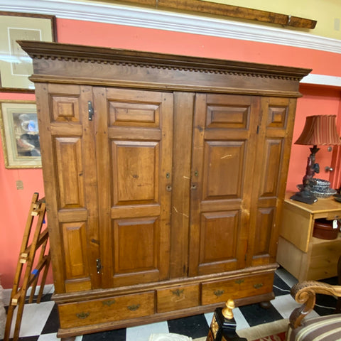 Antique Armoire, Large 2 Door 3 Drawer Chest with Dental Moulding