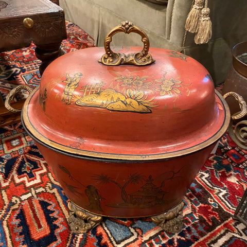 Red Asian Metal Covered Pot