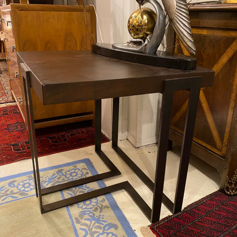 Modern Wood Top Side Table with Metal Base