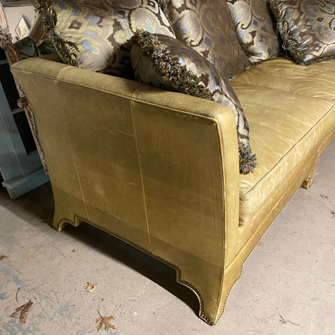 Tan Gold Leather Sofa with Nailhead Trim & Pillows
