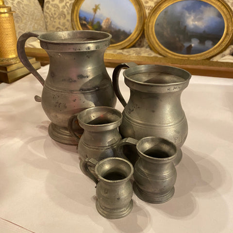 Set of 5 Birmingham Pewter Measures