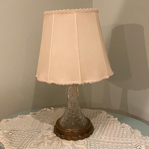 Cut Glass Crystal Lamp with metal base