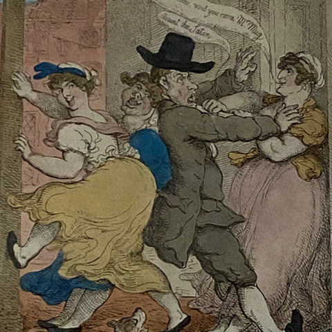 """Crimping A Quaker"" Satirical Caricature Print"