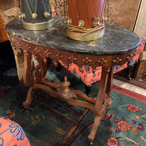 Marble Top Oval Side Table with Dental Details