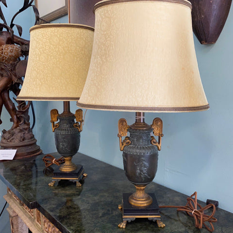 Pair of Green Urn Shaped Lamps