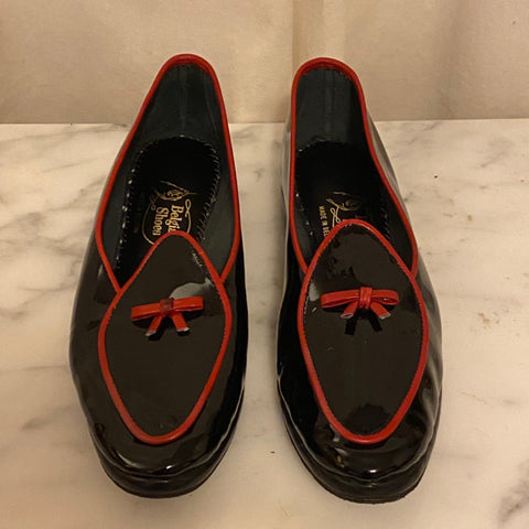 Belgian Shoes Black Patent Loafers with Red Trim
