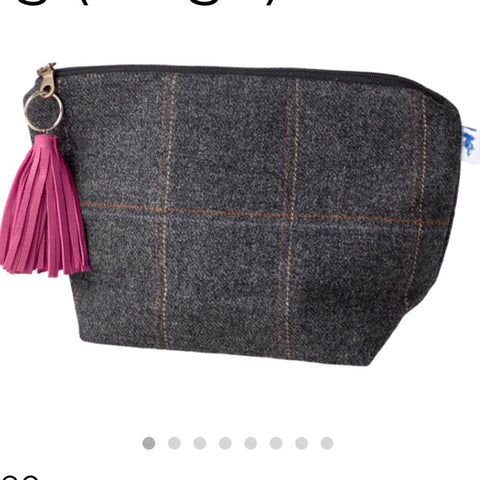 Large Walker Makeup Bag in Black Isle Tweed