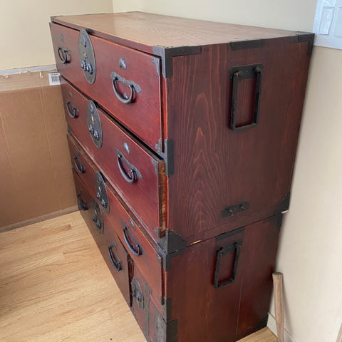 Red Japanese Tansu Chest of Drawers with Heron & Tortoise Hardware