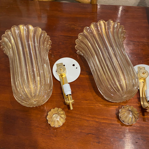 Pair of Custom Murano Glass Sconces