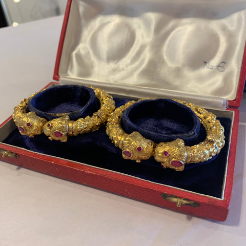 Pair of Antique Indian 18kt Yellow Gold & Ruby Bracelets