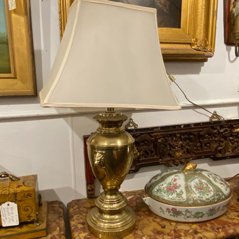 Pair of Brass Lion Head Lamps with Shades