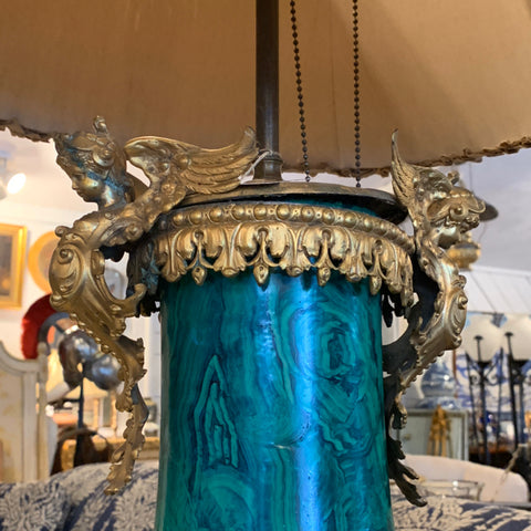 French Faux Malachite and Gilt Bronze Lamp