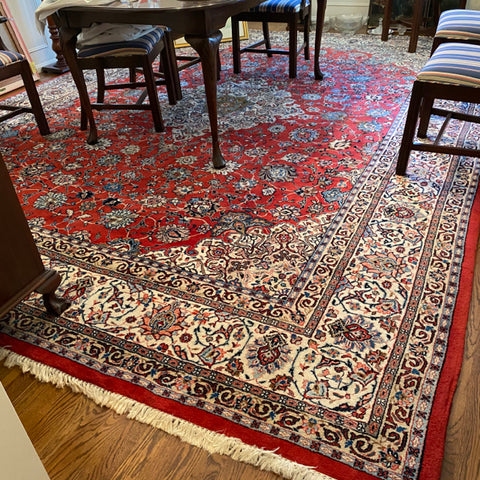 "Red & Ivory Persian Rug 10'7"" x 13'9"""