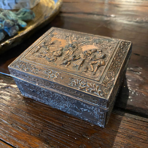 Metal Box with Pastoral Scene