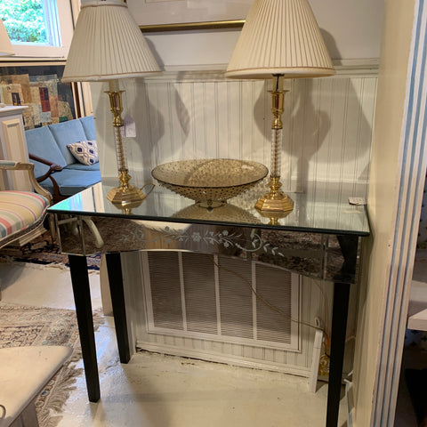 Etched Mirrored Console Table