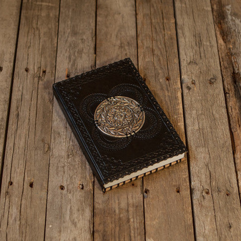 Black Leather Embossed Notebook