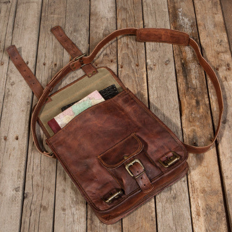Top Stitched Leather Satchel