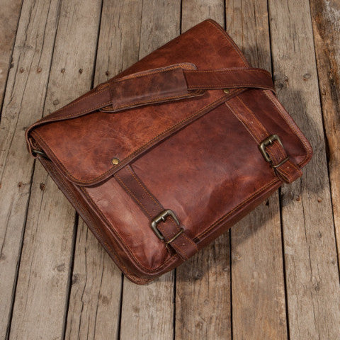 Simple Classic Leather Satchel