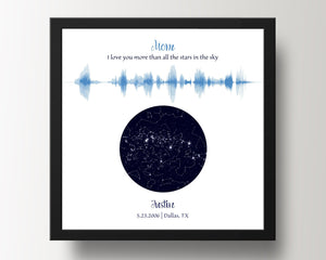 Custom Night Sky & Voice Art, Gift for Mom or Dad - 3 Children