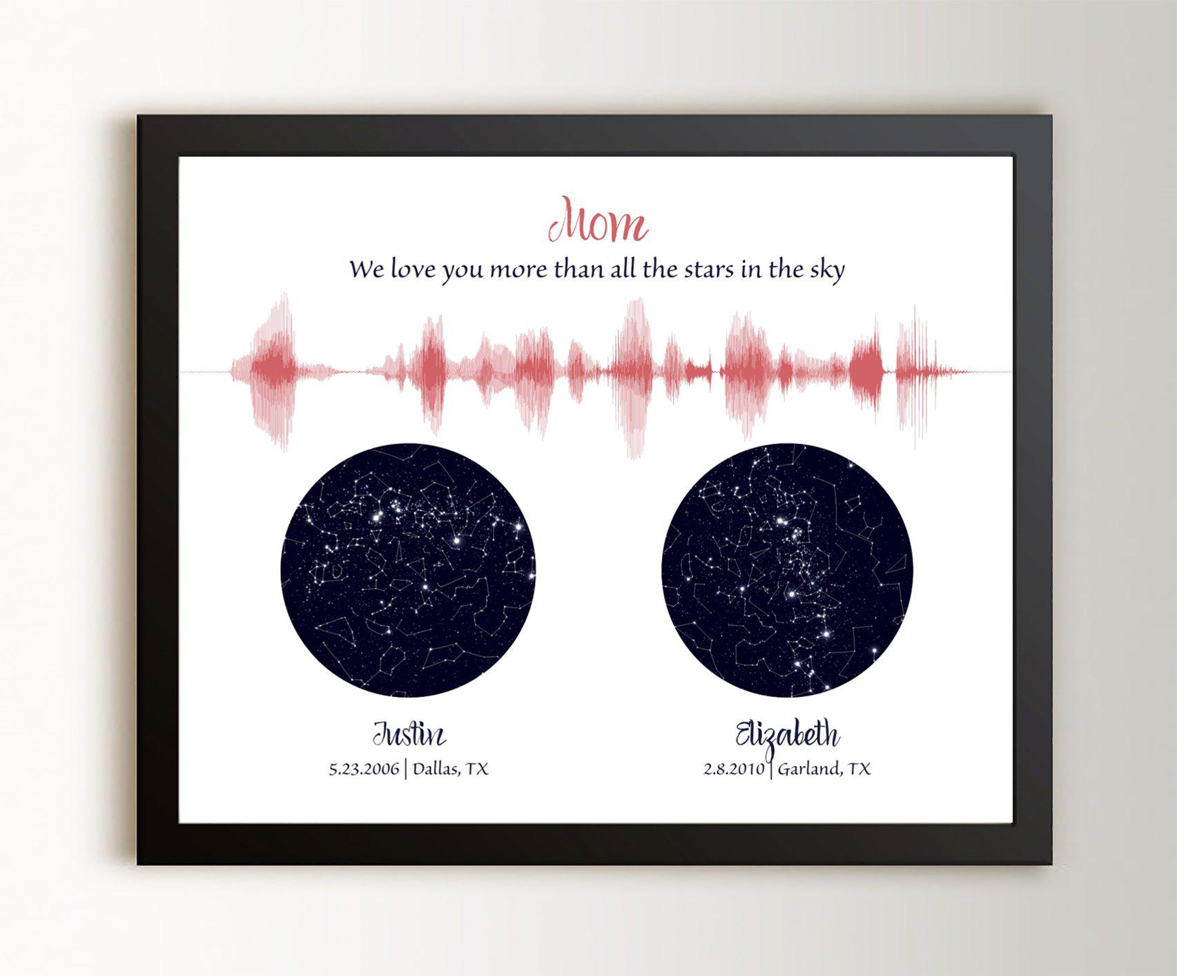 Custom Night Sky & Voice Art, Gift for Mom or Dad - 3 Children - Artsy Voiceprint