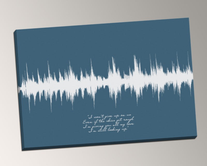 Favorite Lyrics from Any Song, Sound Wave on Canvas - I won't give up - Artsy Voiceprint