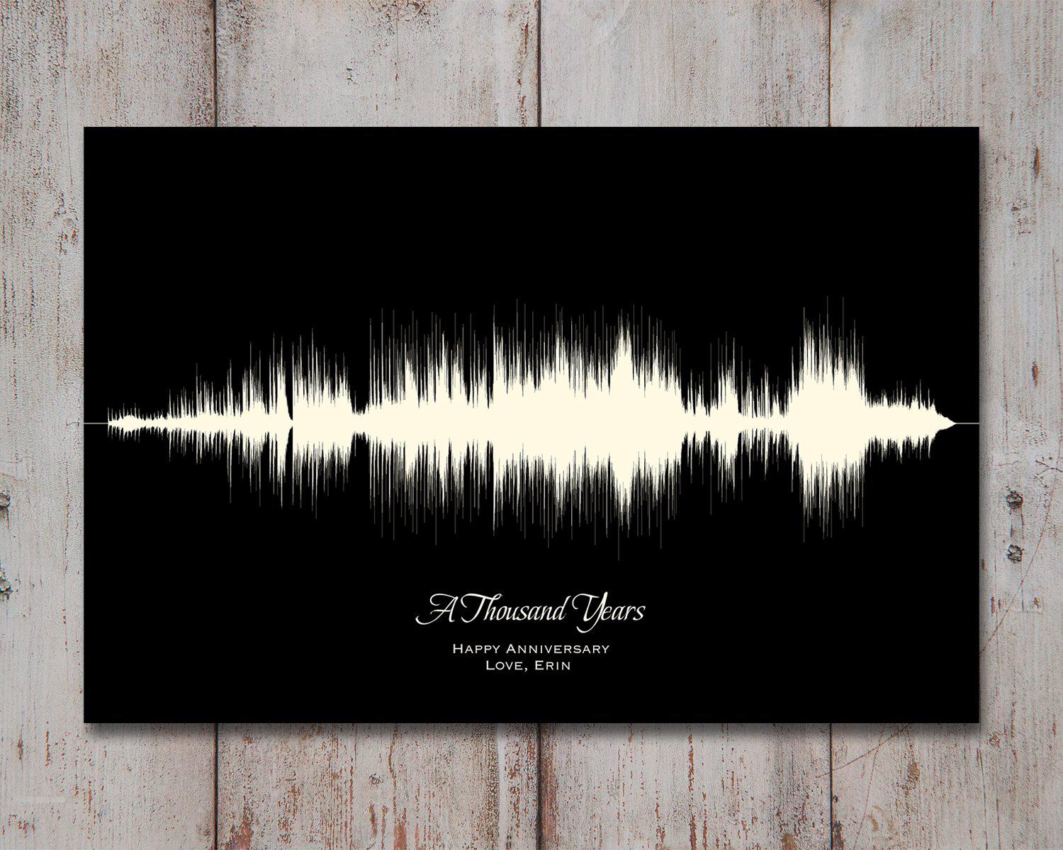 Large Song Lyric Wall Art - Custom Sound Wave, 1st Anniversary Gift - Artsy Voiceprint