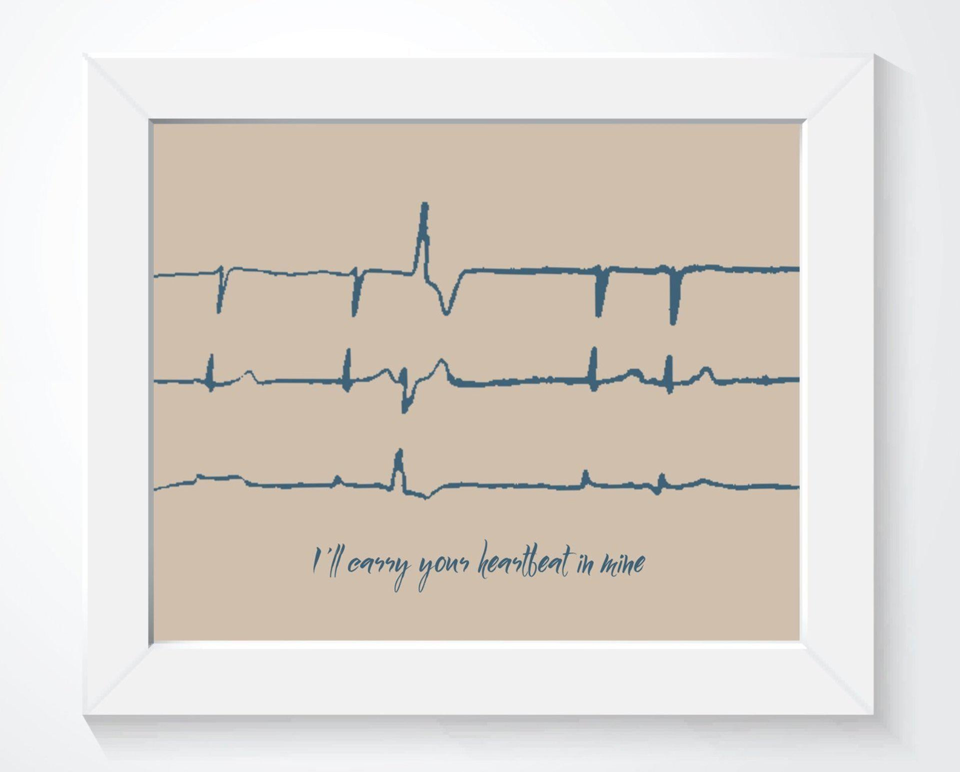 Heartbeat Memorial Gift - Custom EKG Sound Wave Art - Artsy Voiceprint