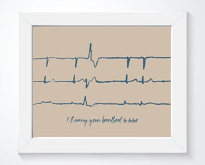 Heartbeat Memorial Gift - Custom EKG Sound Wave Art