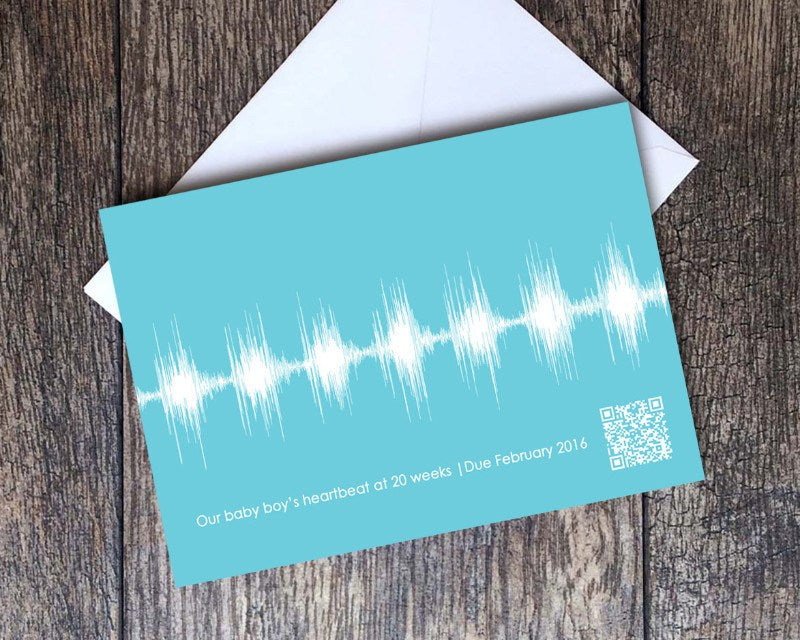 Baby Heartbeat Cards, Pregnancy Announcement, Gender Reveal - Artsy Voiceprint