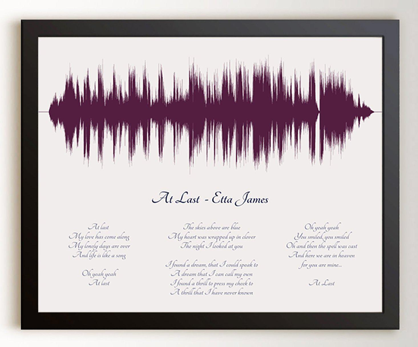 Song with Lyrics, Wedding Song, First Dance, 1st Wedding Anniversary Gift - Artsy Voiceprint