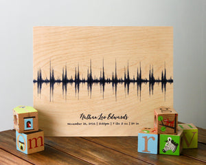 Baby Heartbeat Sound Wave Art on Wood, Nursery Decor, Baby Shower Gift