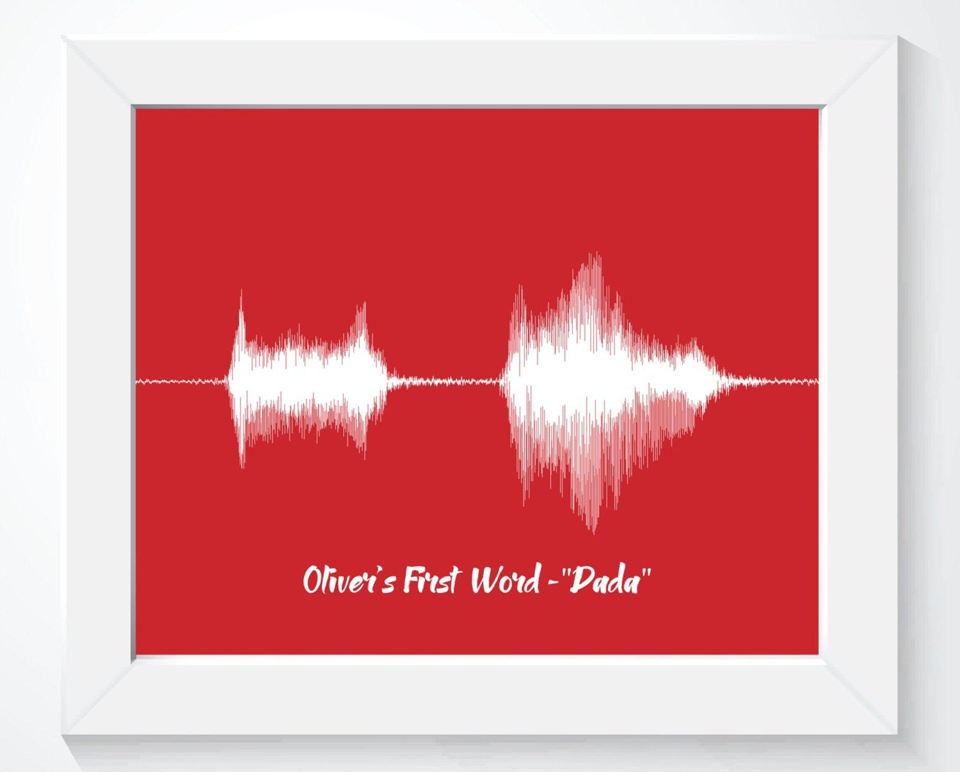 Baby's First Word, Custom Gift, Personalized Nursery Wall Art Print - Artsy Voiceprint