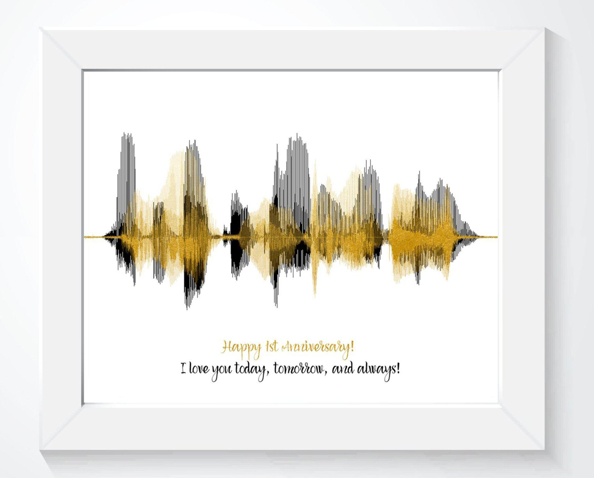 Happy 1st Anniversary Paper Gift Personalized Voiceprint - Artsy Voiceprint