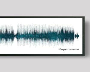 Night Sky Song Lyric Print Sound Wave Art