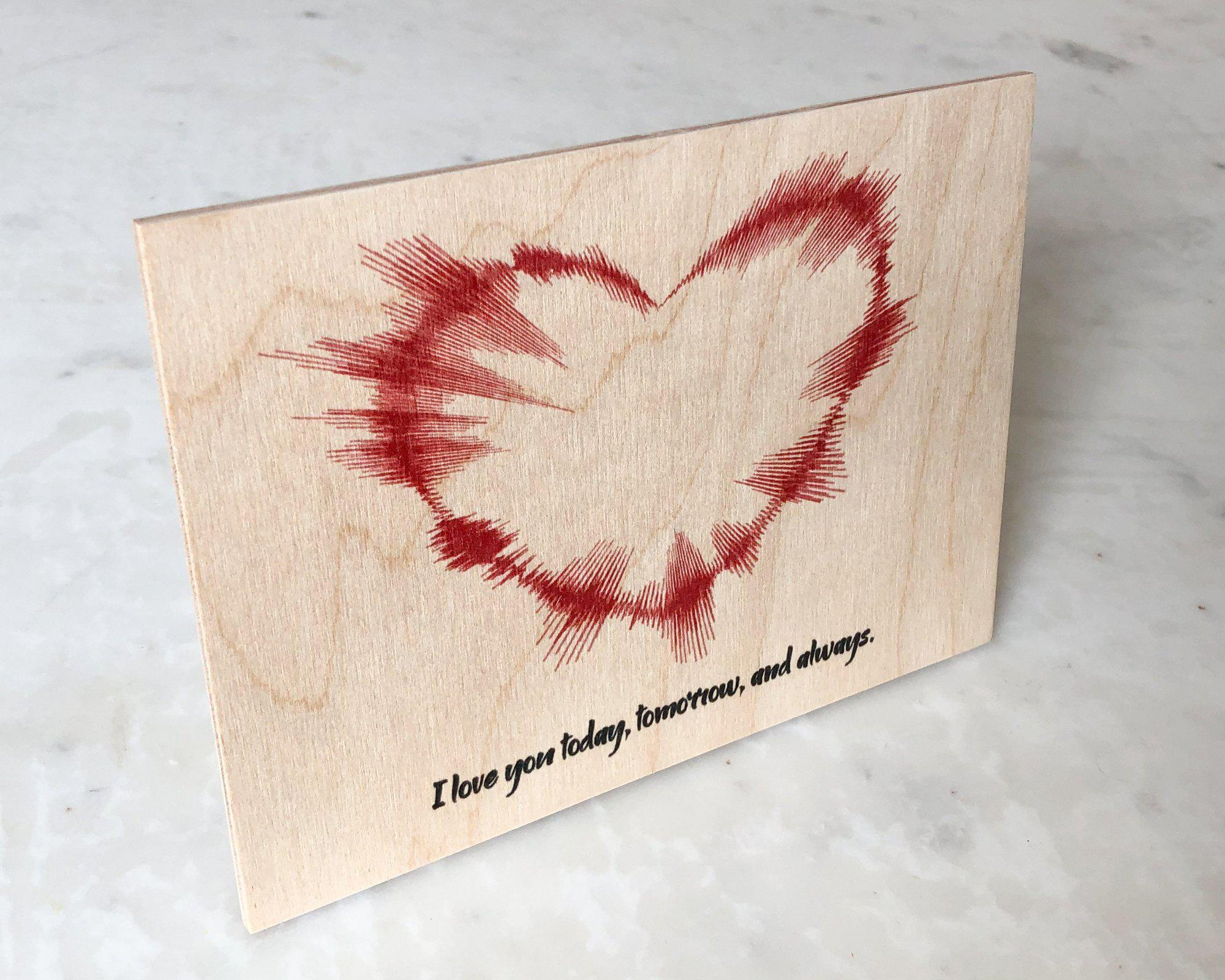 Valentines Day Gifts for Her, Heart Shaped Sound Wave Art on Wood, 5th Anniversary Gift - Artsy Voiceprint