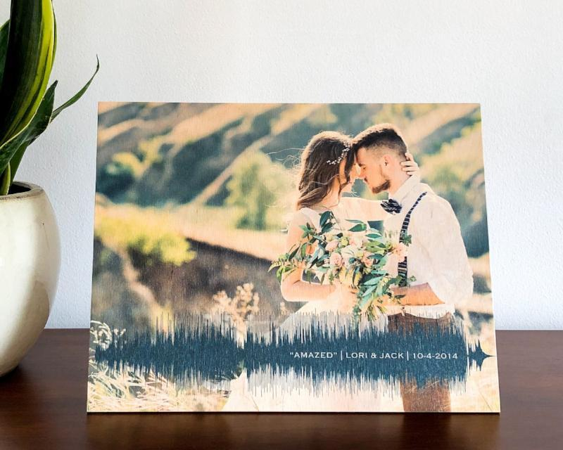 NEW! Photo on Wood, 5th Anniversary Gift, Personalized with Photo & Wedding Song - Artsy Voiceprint