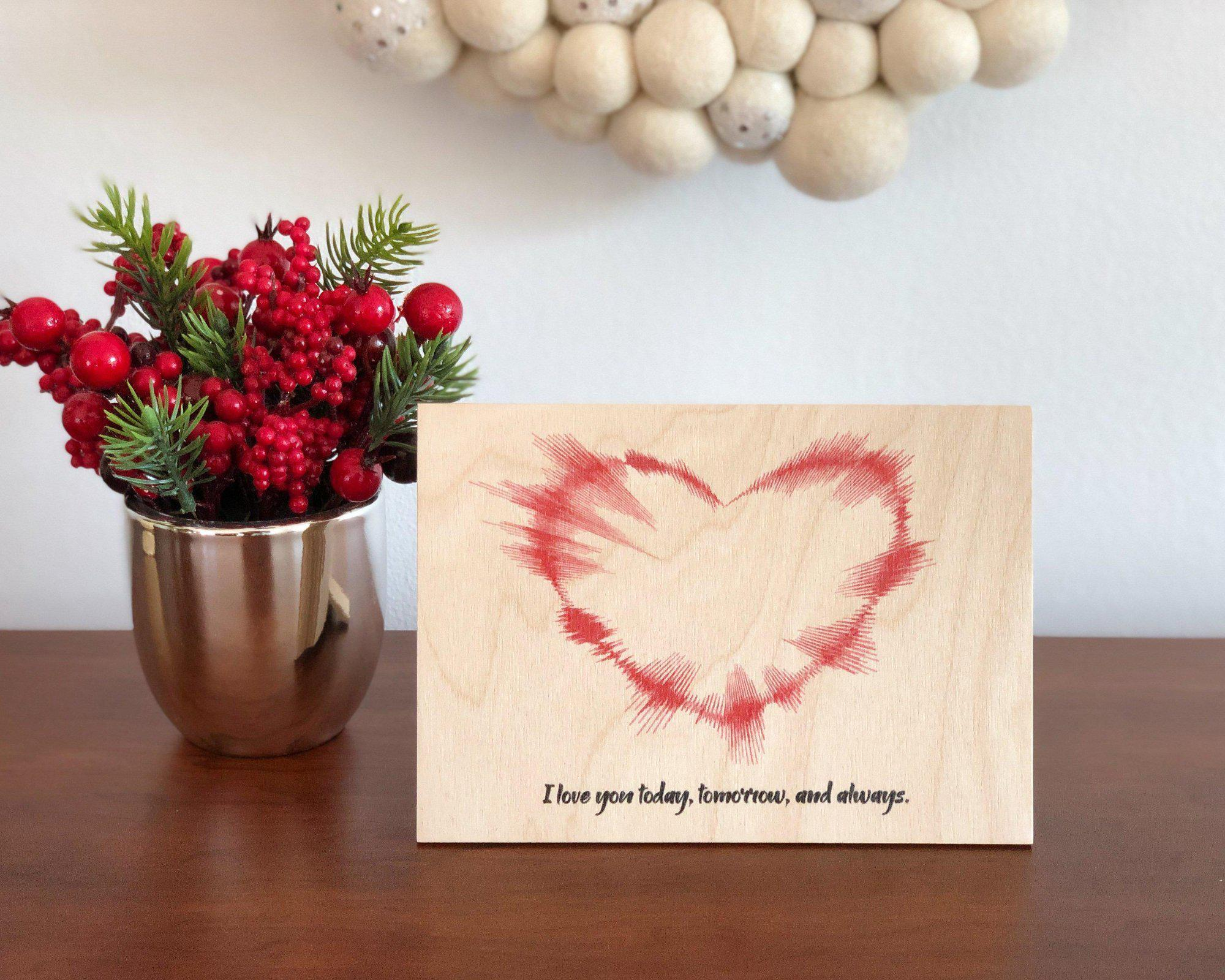 NEW! Christmas Gifts for Her, Heart Shaped Sound Wave Art on Wood, 5th Anniversary Gift - Artsy Voiceprint