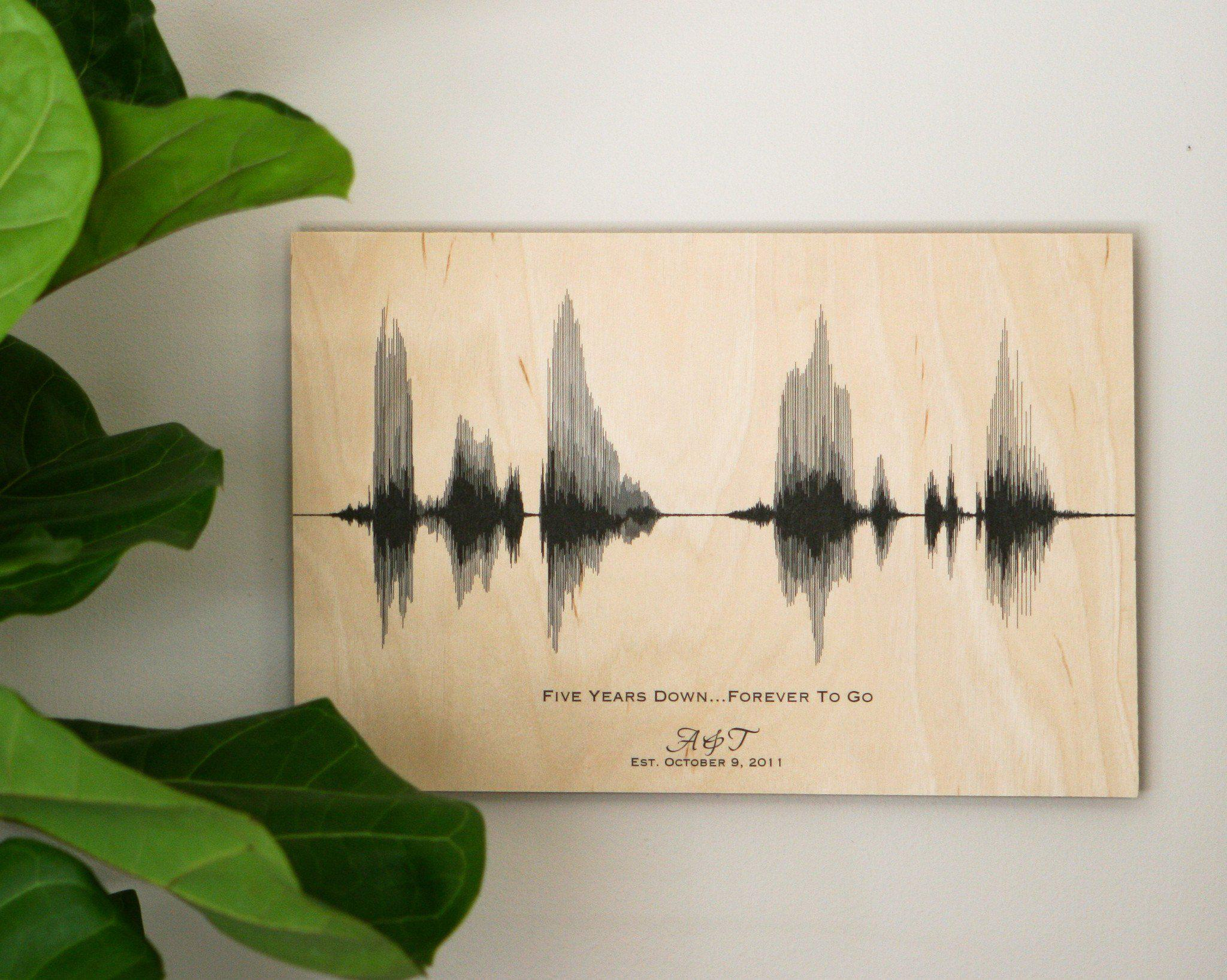 5 Year Wedding Anniversary Gift, Personalized Sound Wave Art on Wood - Artsy Voiceprint
