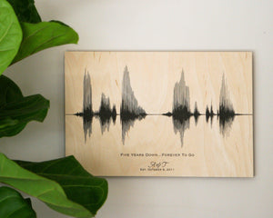 5 Year Anniversary Gift on Wood, Personalized Sound Wave Art
