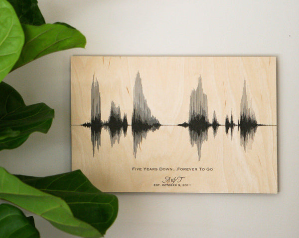 5th Wedding Anniversary Gift Ideas For Him: 5th Anniversary Wood Gift For Him, For Her, Sound Wave