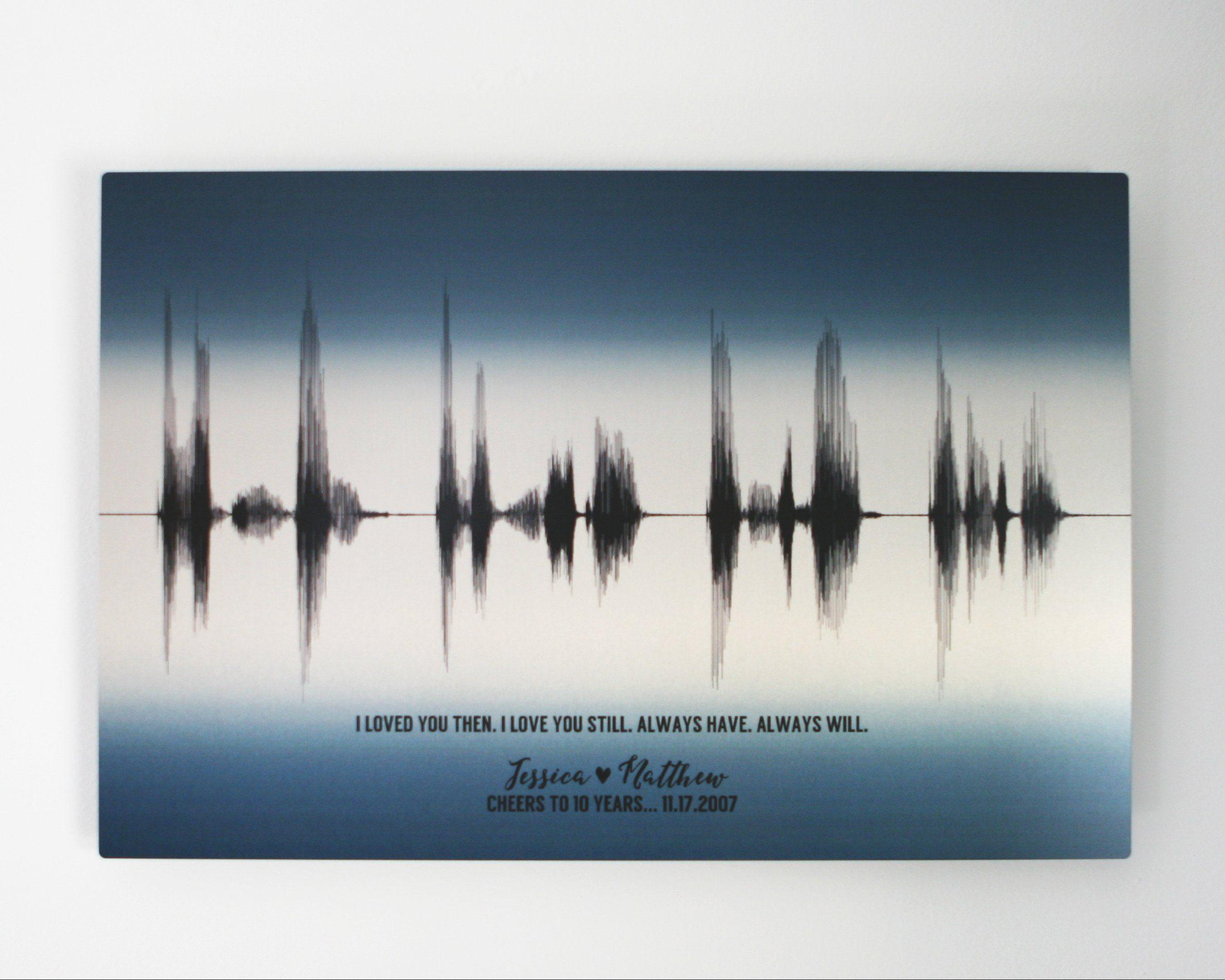 10th Anniversary Voice Art Gift, Tin Aluminum Metal Print - Artsy Voiceprint