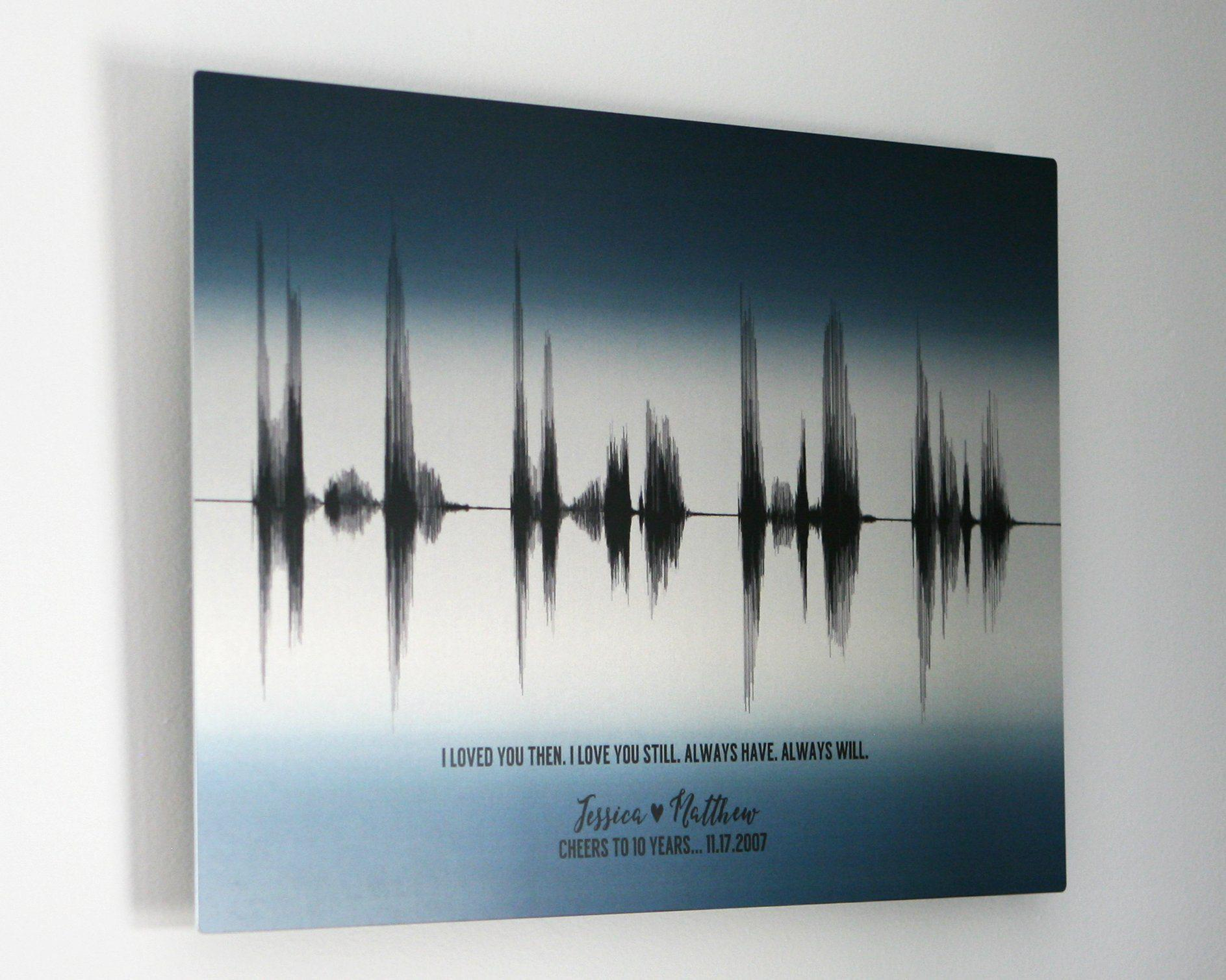 10th Anniversary Gift Personalized Sound Wave Art Aluminum