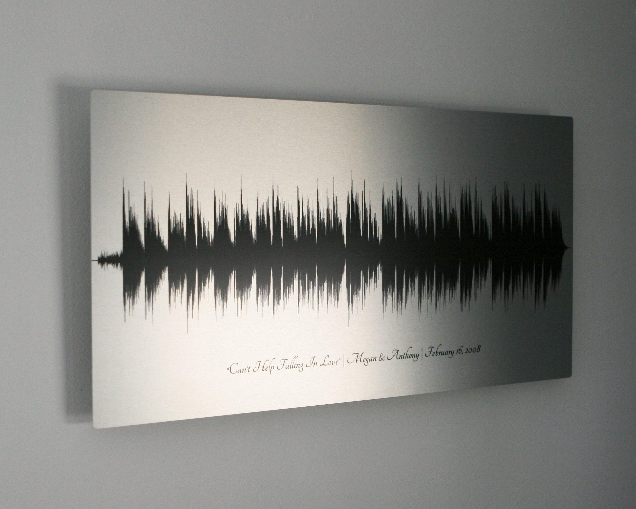 10 Year Anniversary Gifts, Wedding Song, Tin Aluminum Metal Print - Artsy Voiceprint
