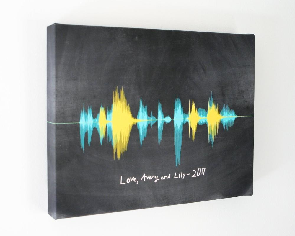 Handwriting & Voice Wave, Personalized Gift from Kids for Mom & Dad on Canvas - Artsy Voiceprint