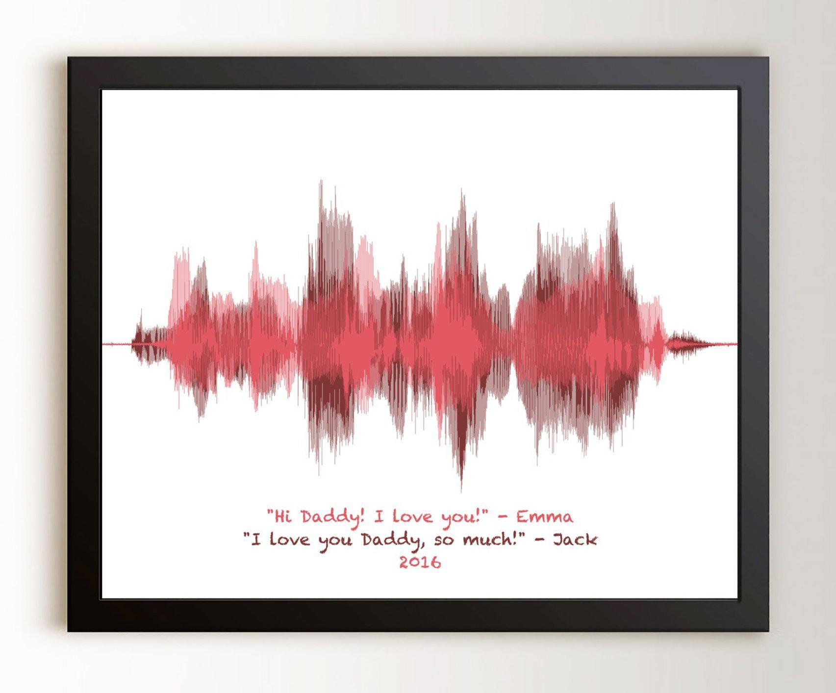 Gift for Dad from Daughter, Gift for Mom from Son - Personalized Voiceprint - Artsy Voiceprint