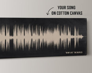 Cotton Anniversary Gift - 2nd Anniversary, Wedding Song Sound Wave Art